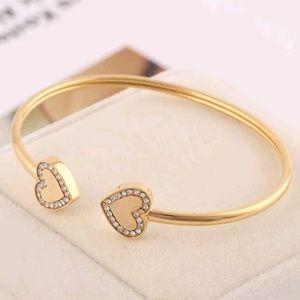 Michael Kors Gold Logo Crystal Heart Bracelet